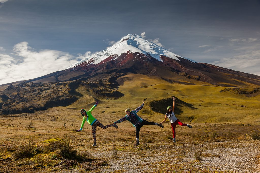 Group of tourists having on a visit to the National Park Cotopaxi
