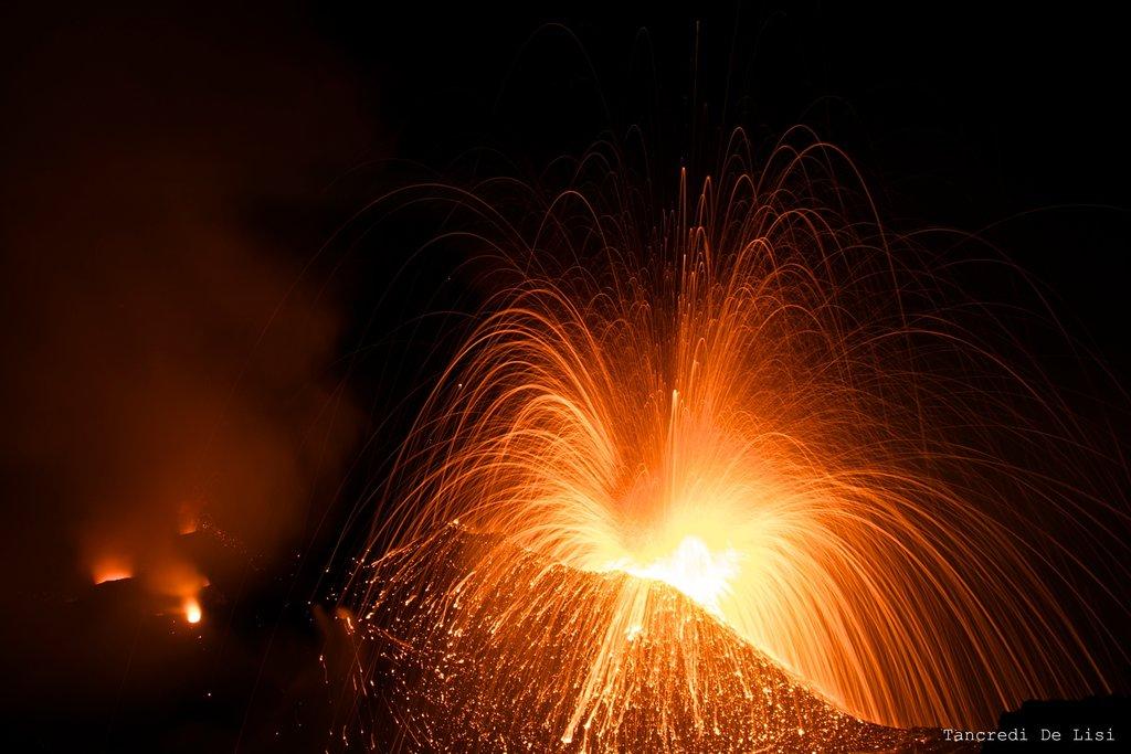 The erupting Stromboli volcano