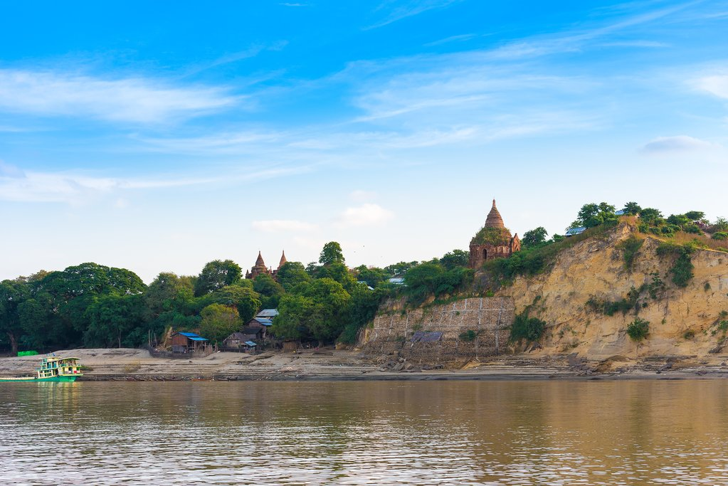 One of Bagan's ancient temples as seen from the Irrawaddy River