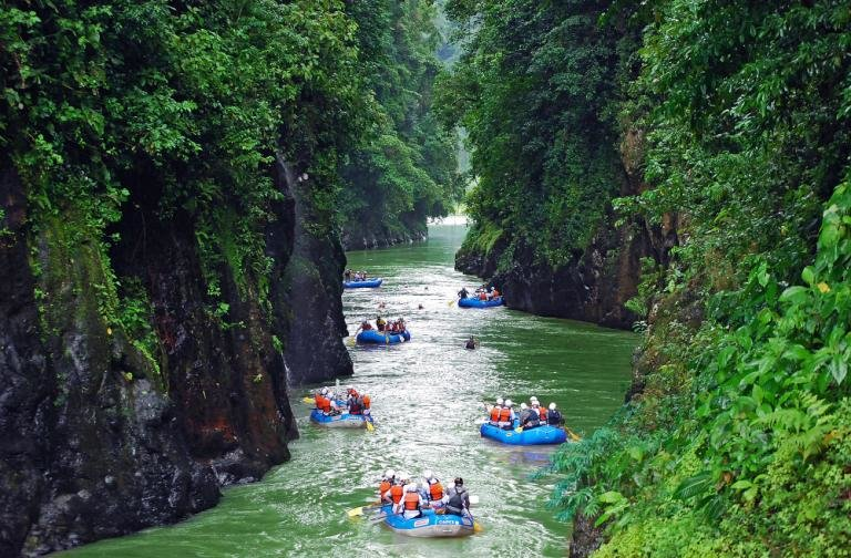Rafting through a canyon on the Pacuare River