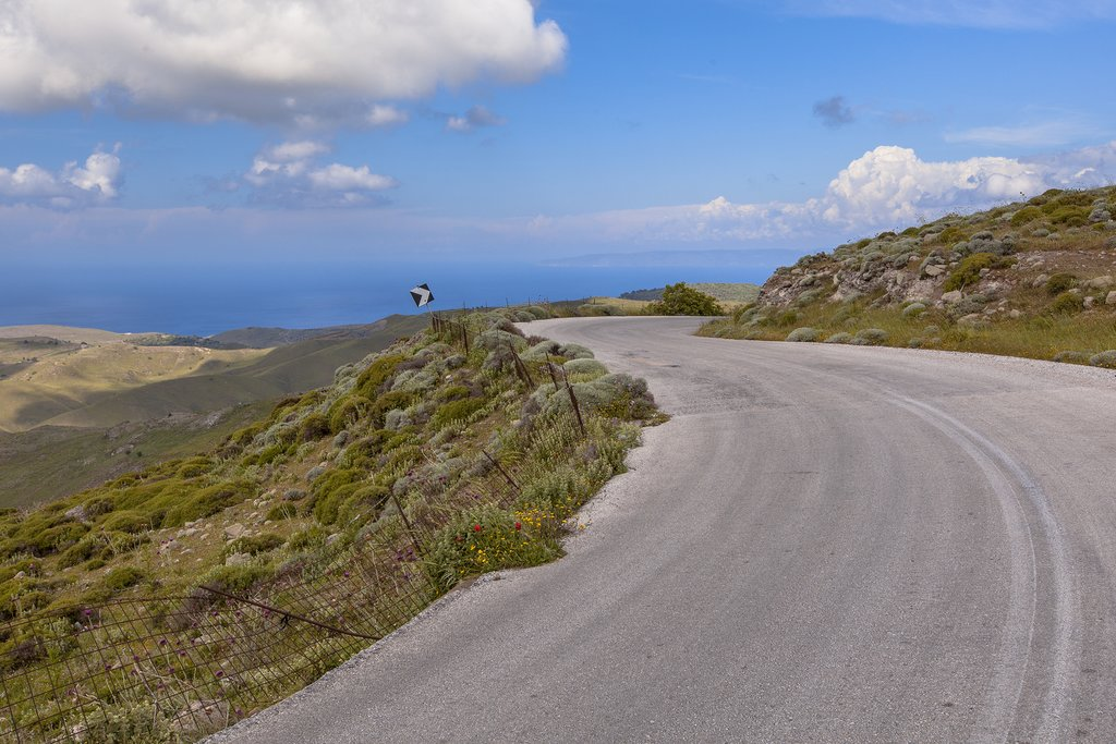 A quiet road on the island of Lesvos, Greece