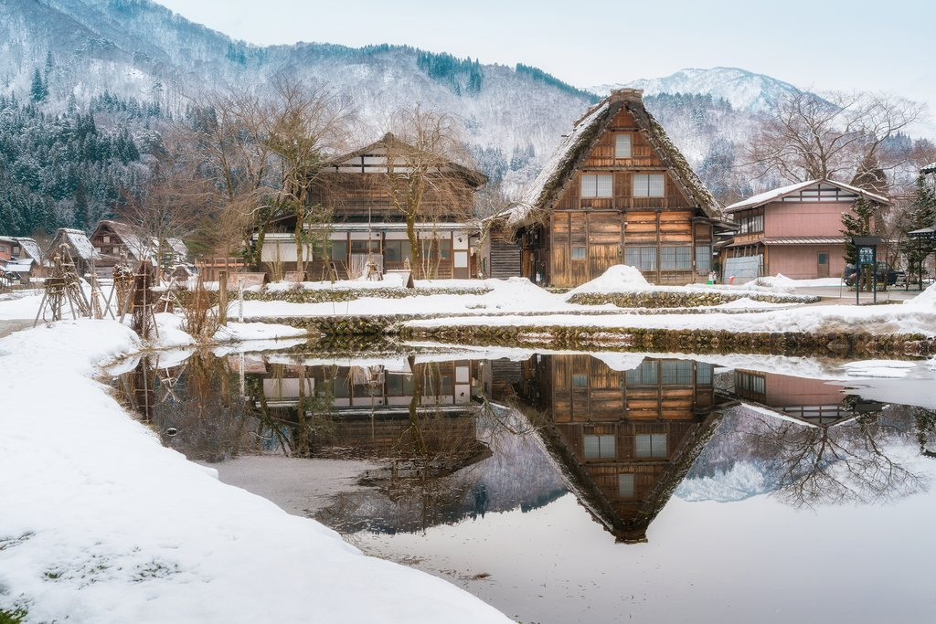 Traditional Gassho-zukuri style house in Shirakawa-go