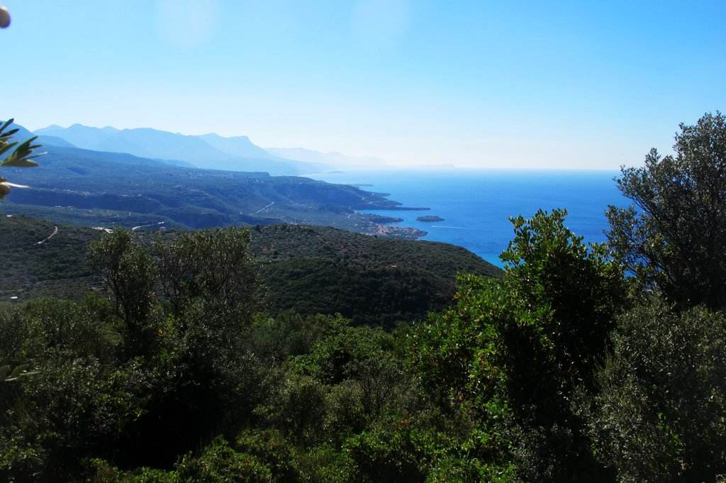 Hilltop view of the Kardamyli coast