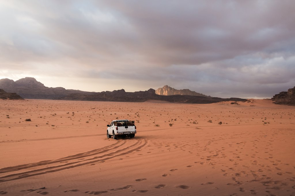 Driving across Wadi Rum