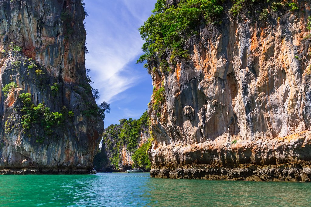 Phang Nga Bay is famous for its emerald waters and stunning limestone islands.
