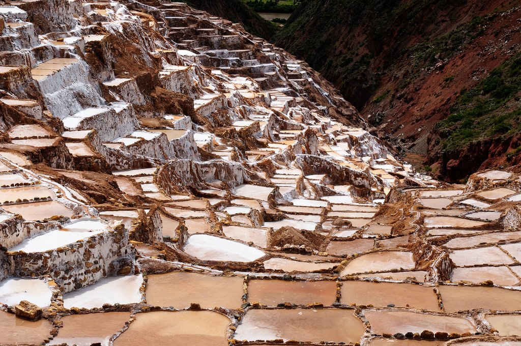 The traditional salt pans use a series of terraces to evaporate water