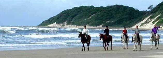 On horseback at the beach near Coffee Bay
