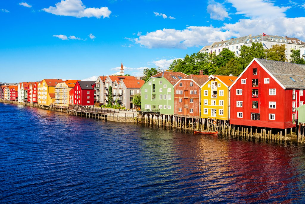 Colorful wooden houses in Trondheim.