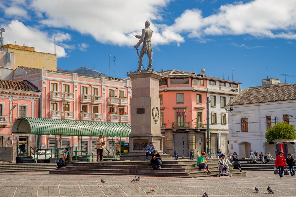 The historic center of Quito is filled with sunny plazas, monuments and colonial-era buildings.