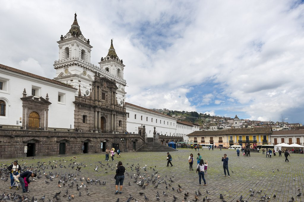 The beautiful Plaza San Francisco in Quito's Old Town, with the Iglesia y Monasterio de San Francisco behind