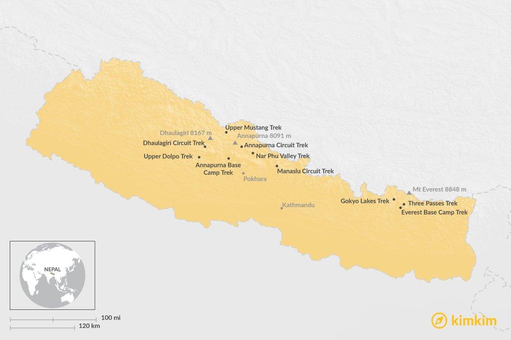 Map of the best treks in Nepal