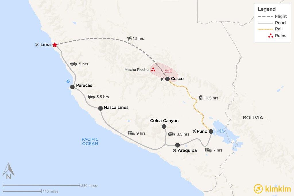 Map of Southern Peru