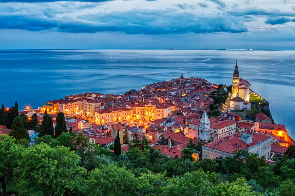 City of Piran along the coast