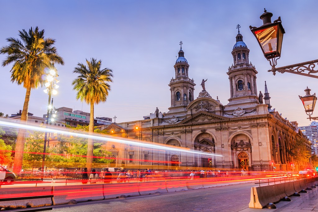 The famed Plaza de Armas, the historic center of Santiago de Chile.