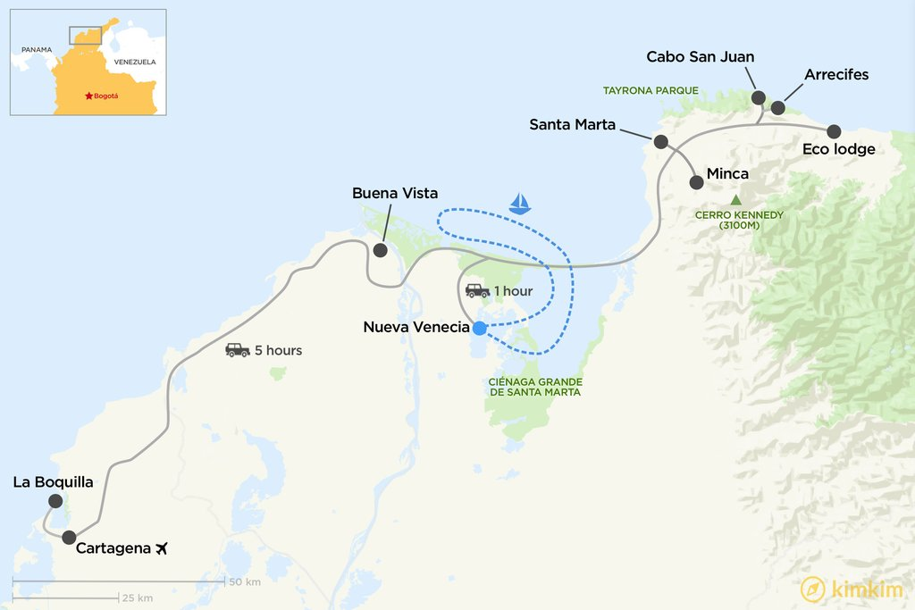 Map of northern Colombia tour