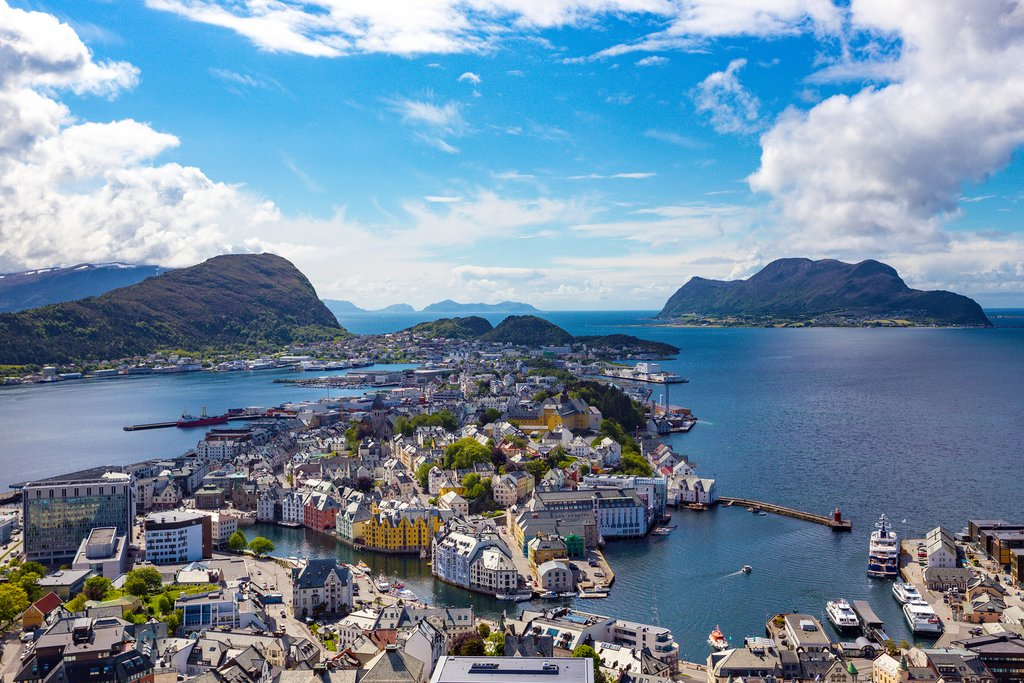 Alesund, Norway - panoramic view on center of cruise port Alesund in Norwegian fjords.