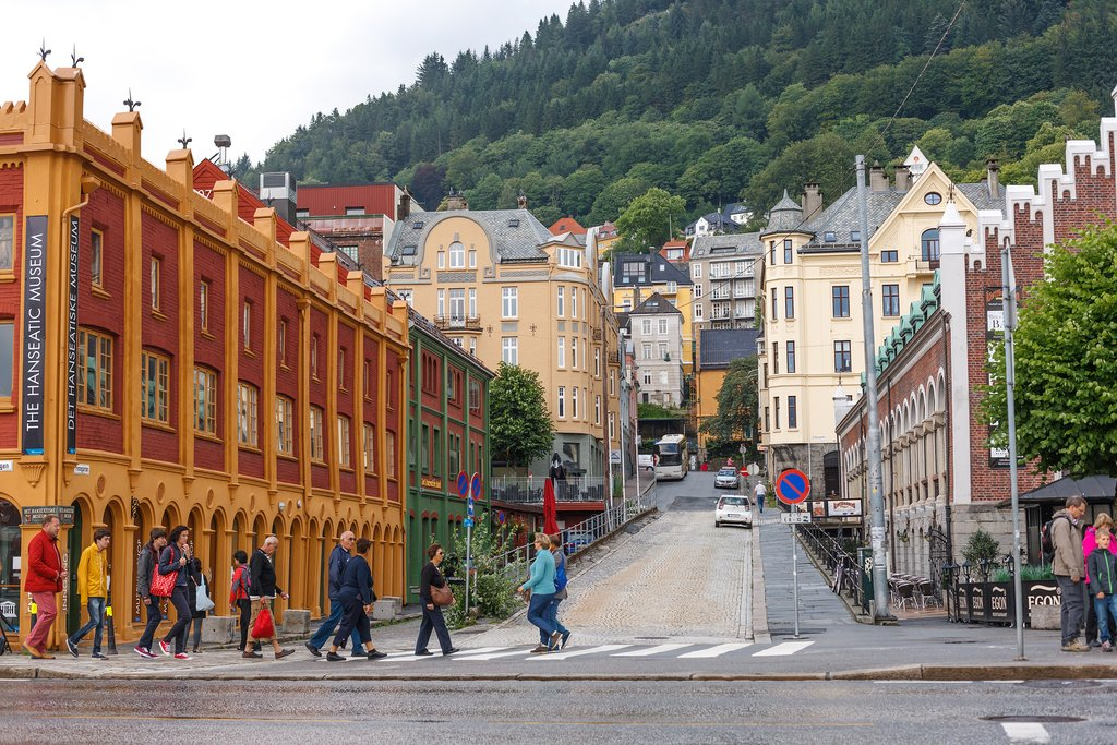 Bergen's walkable streets offer museums, restaurants, and shops.