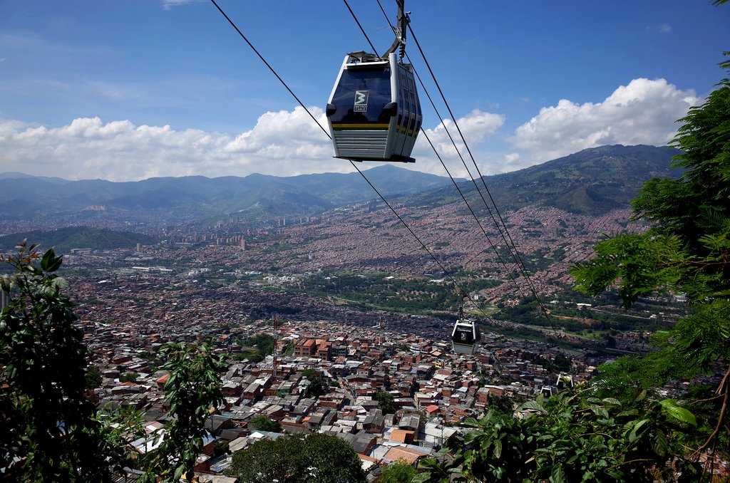 Ride the metrocable for free in Medellin.
