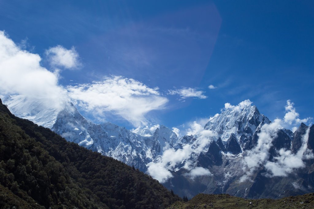 Clouds clearing above the Manaslu Range