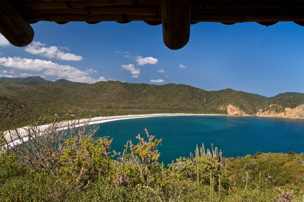 Looking down at Los Frailes beach