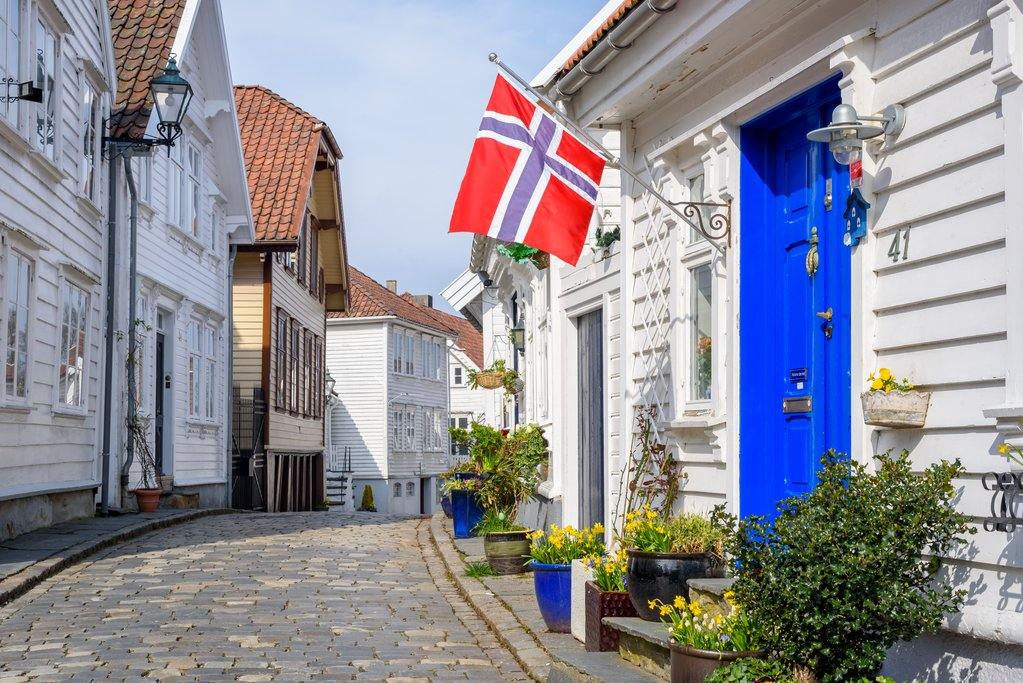 A cobblestone street in Stavanger, Norway