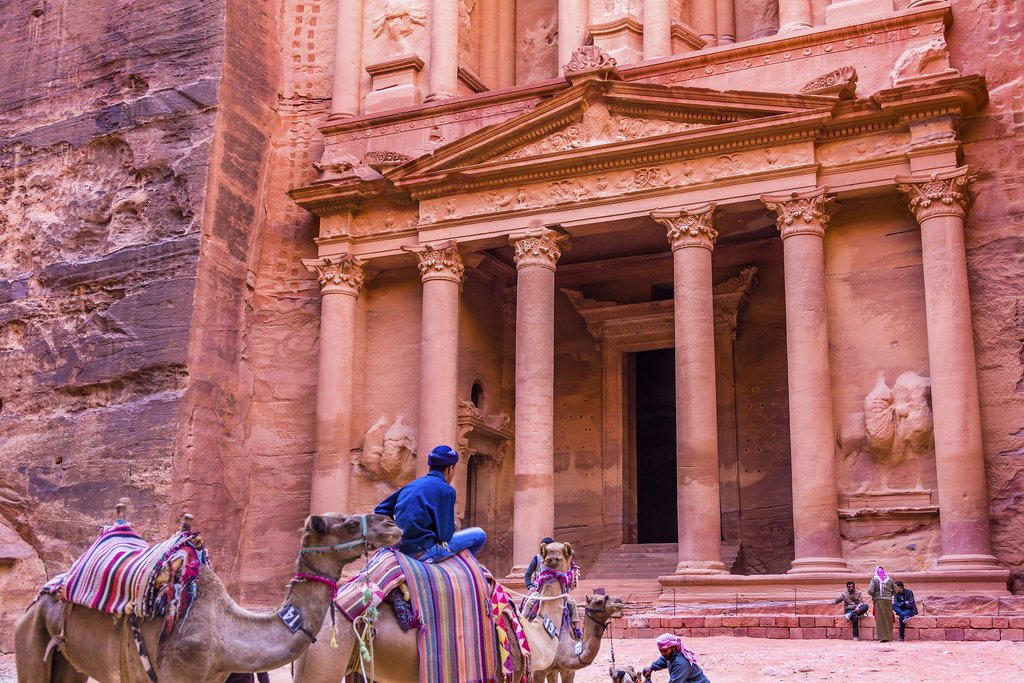 Rose Red Treasury in Afternoon Becomes Golden in Morning Camels Siq Petra Jordan Petra Jordan.