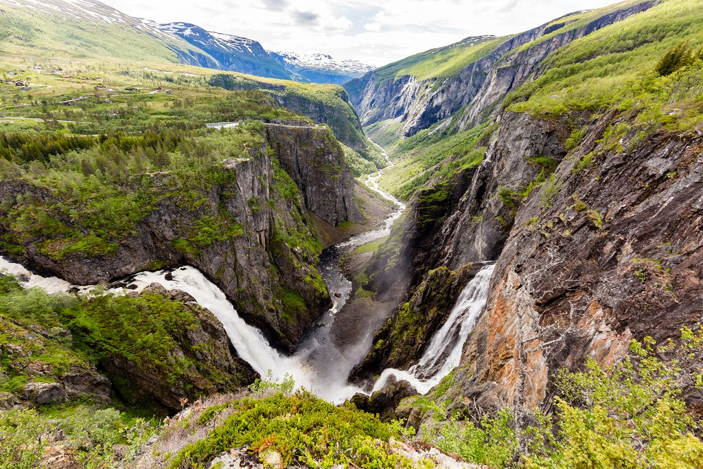Look for waterfalls on hiking trails in this area of Norway