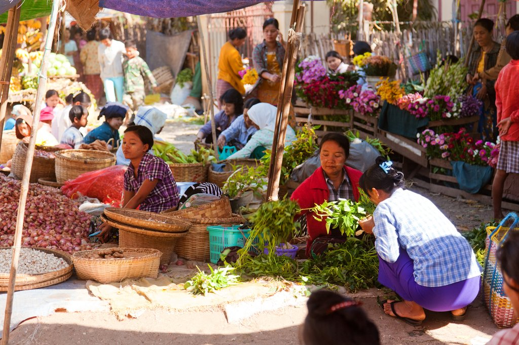 Local produce for sale at Bagan's morning market