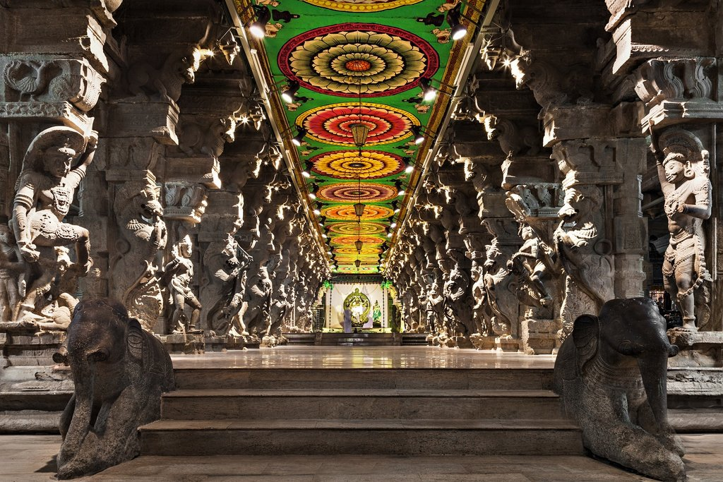 Inside a temple at Madurai