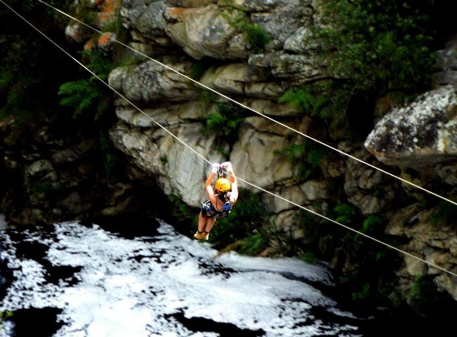 Zip-line across a river gorge in Tsitsikamma