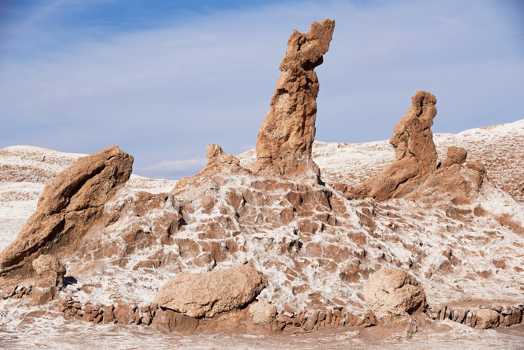Las Tres Marias (The Three Marys) rock formation in Valle de la Luna