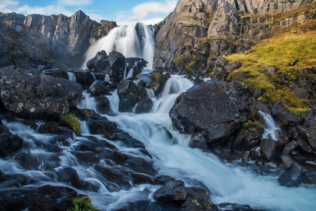 Waterfalls along the trail above Seydisfjordur in the East Fjords (photo by Chris McCarty)