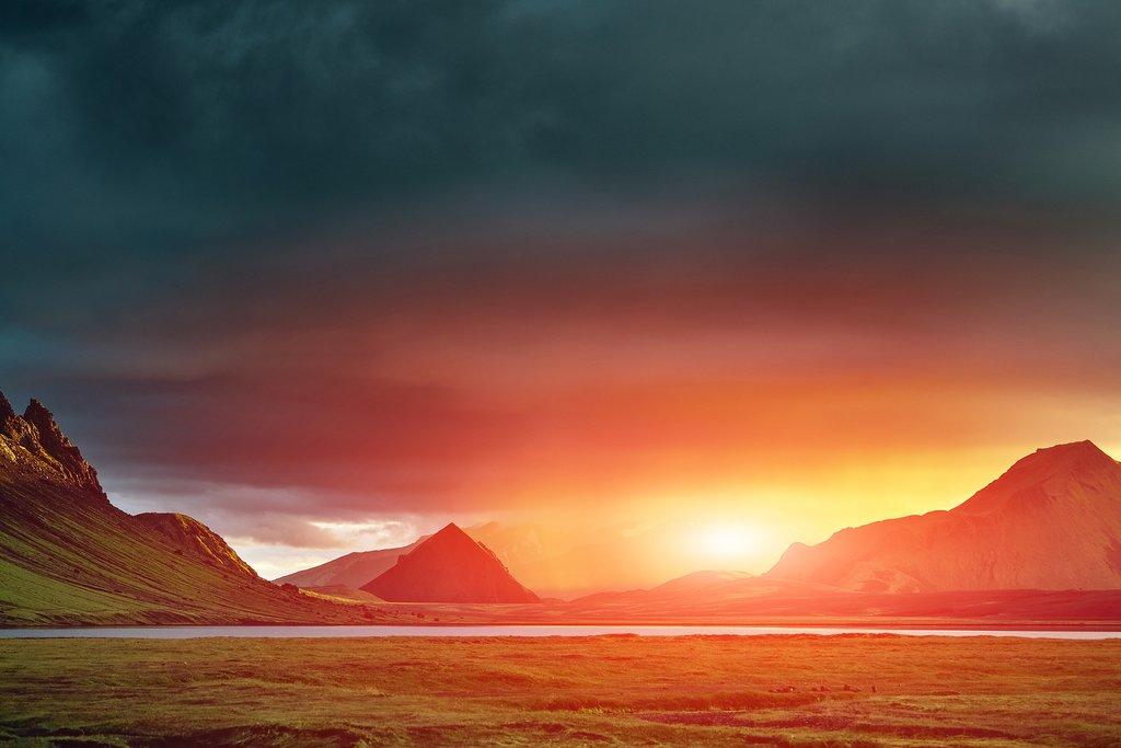 Sunset near LakeÁlftavatn