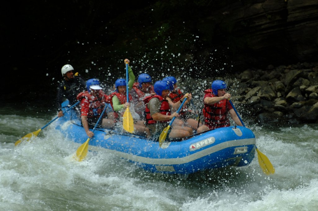 Rafting through rapids