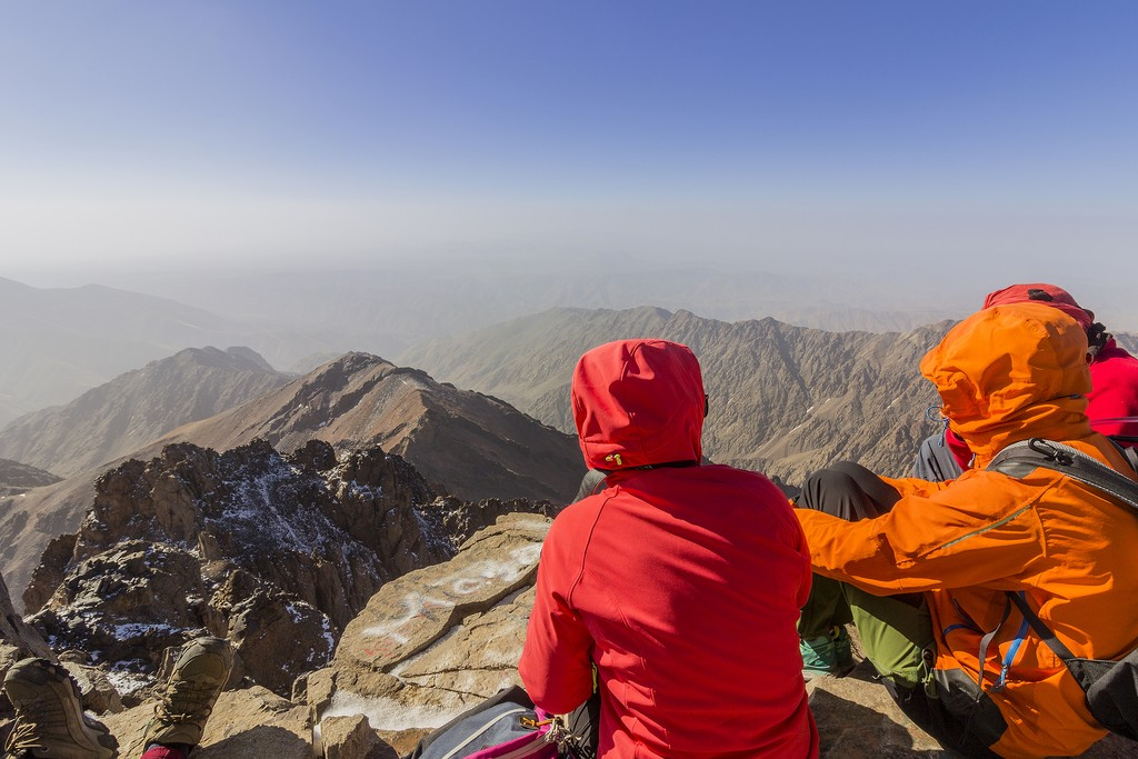 Hikers at the summit of Toubkal