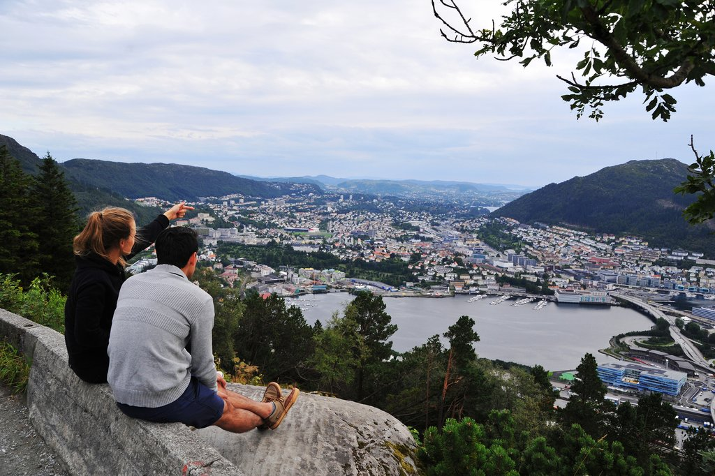 Looking down at Bergen from a mountain trail