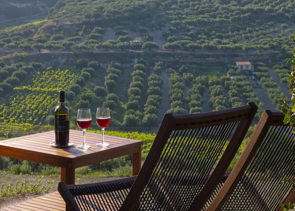 A quiet space to sip wine and gaze at the vineyards (Photo courtesy of Scalani Hills Boutari Winery & Residences)