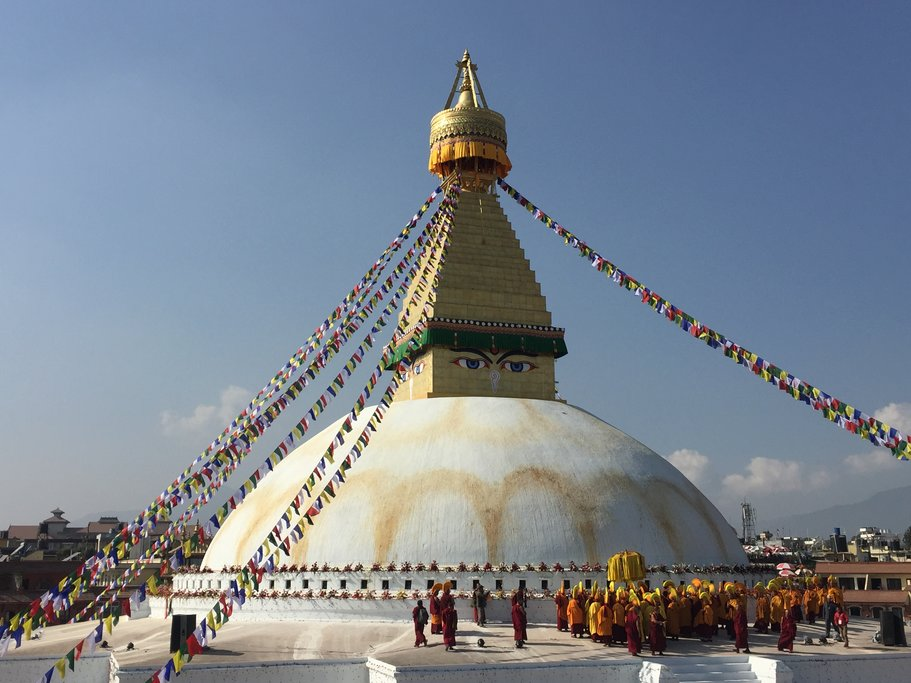 Boudhanath stupa (a dome-shaped Buddhist shrine used for meditation) in Kathmandu