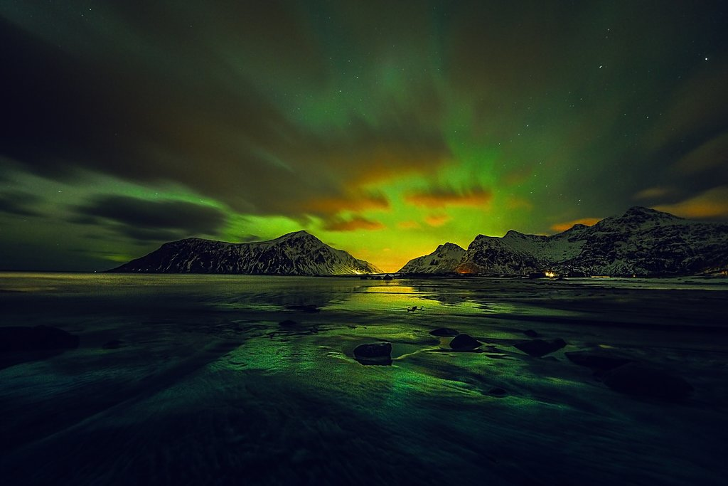 Northern Lights over the coast, Norway