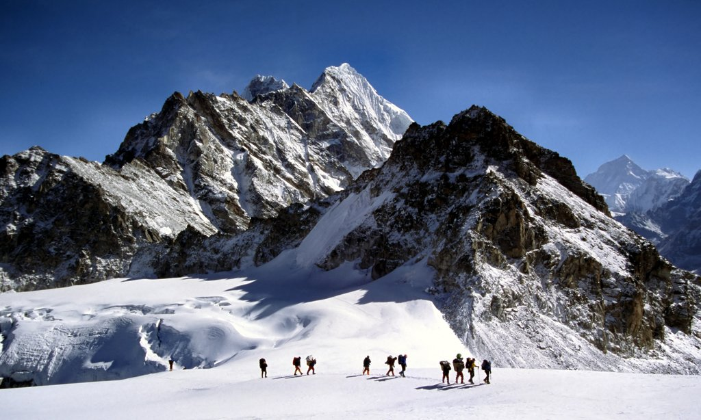Trekkers crossing the Mera La near Mera Peak