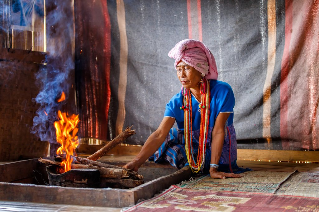 A traditional Karen woman at home