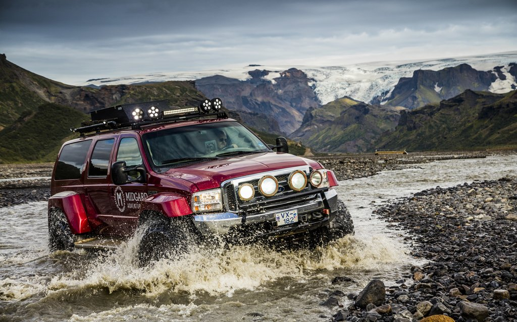 Cross rugged terrain in a Super Jeep