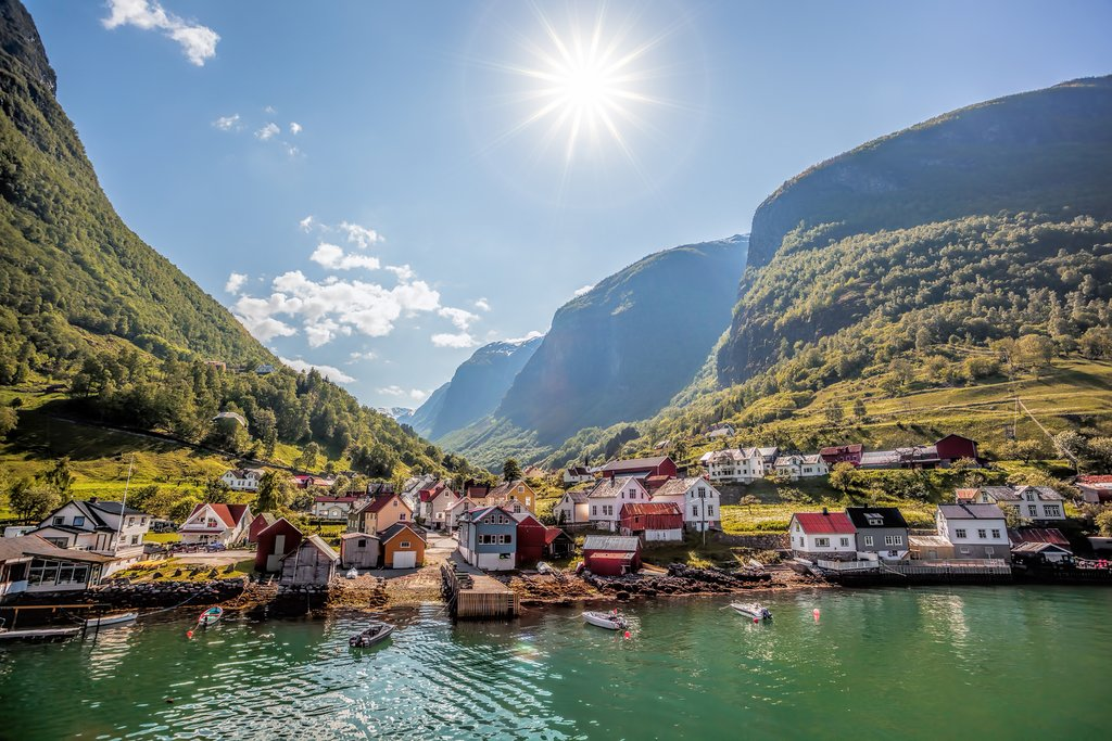 See stunning views of fjord-side villages on this route.