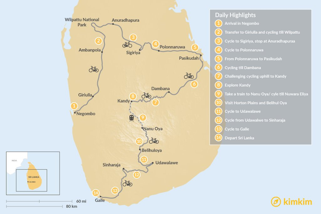 "Route map for ""Hidden Treasures of Sri Lanka - 14-Day Cycling Tour"""