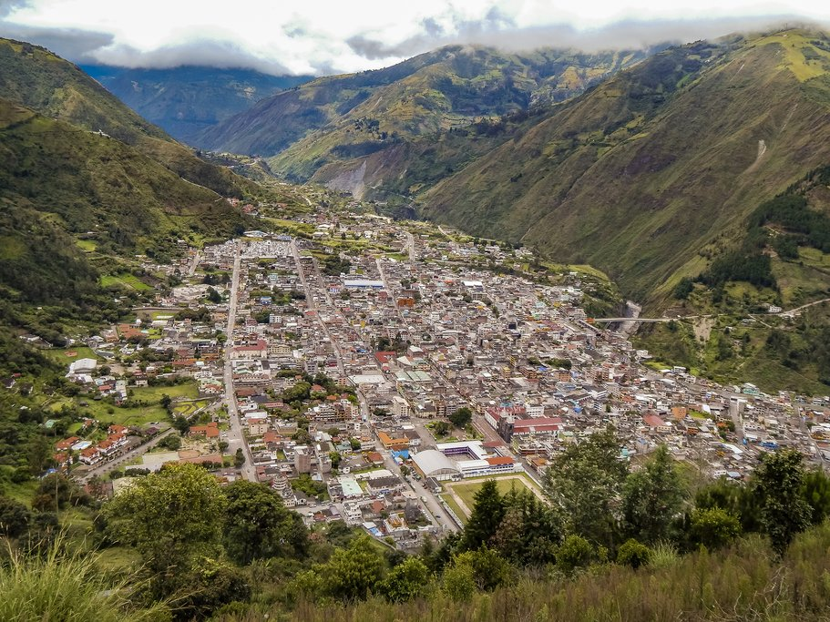 Aerial view of touristic small town Banos