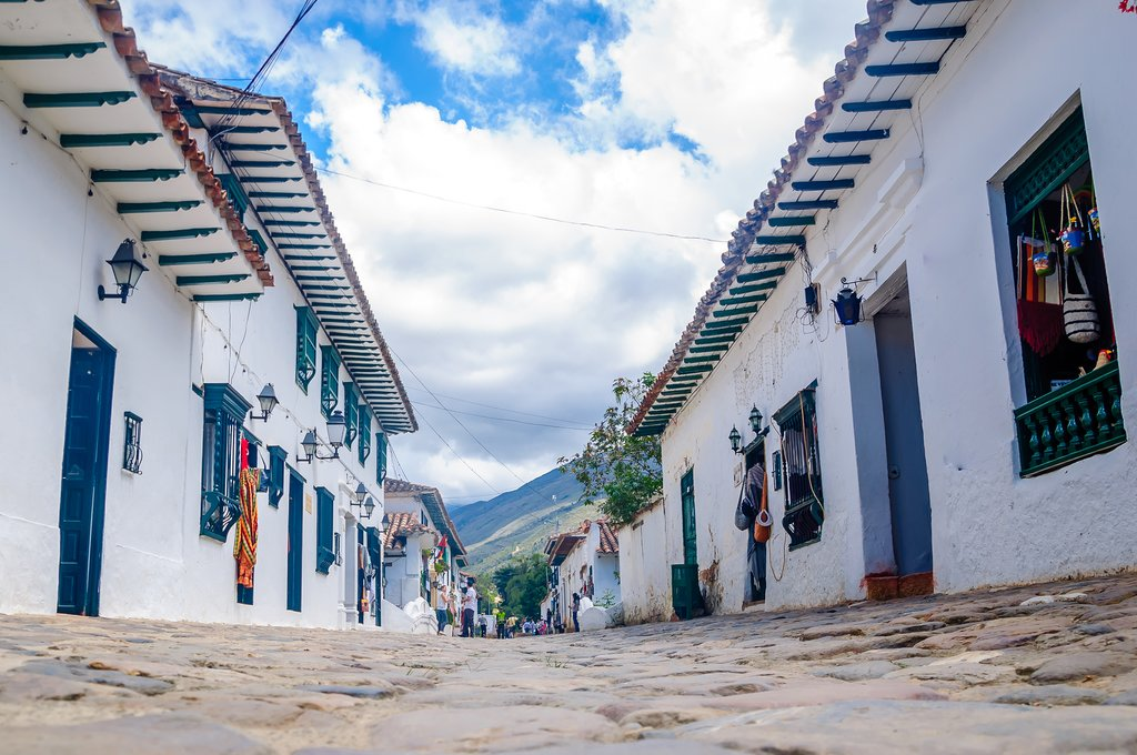 Cobblestone streets in the white-washed town of Villa de Leyva.