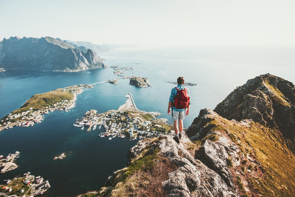 Hike above one of these gorgeous towns in the Lofoten Islands.
