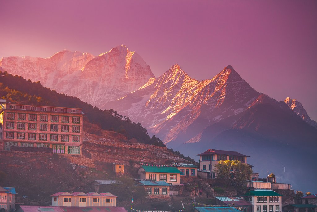 Namche Bazaar at sunrise