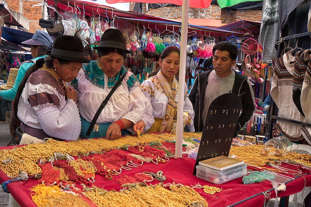 Browsing the artisan marketplace at Otavalo
