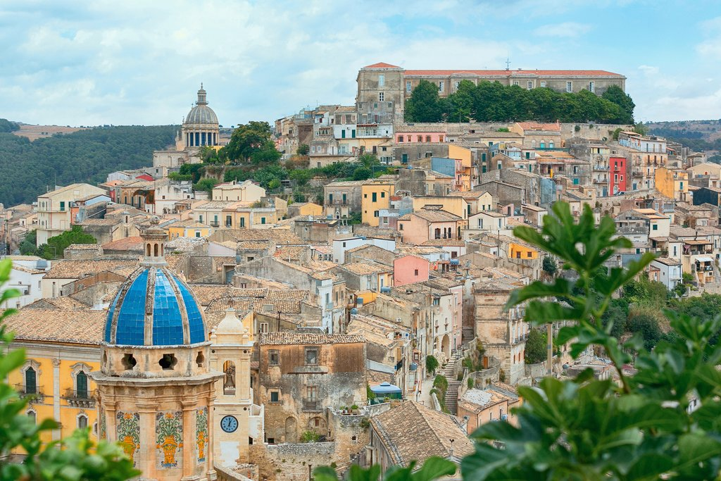 Colorful houses in the medieval city of Ragusa